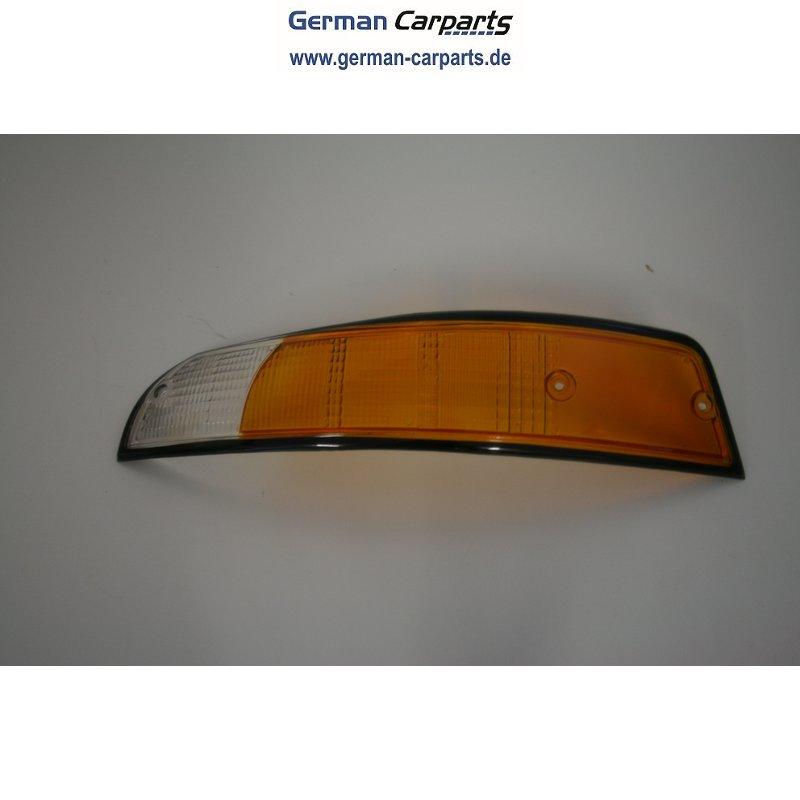 Frontblinker LINKS Orange/Weiß schwarzer Rahmen passend für Porsche 9
